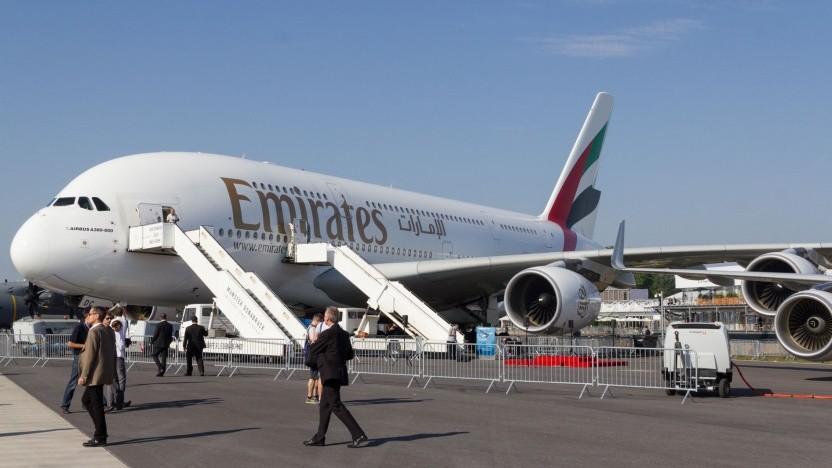 Airbus A380 von Emirates (auf der Ila 2012 in Berlin):  pro Passagier extrem wirtschaftlich und emissionsarm
