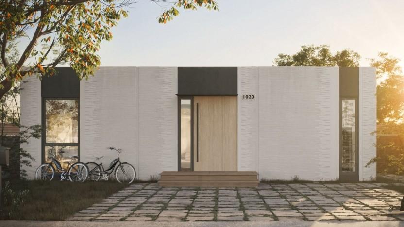3D-gedrucktes Haus: Das Material härtet unter UV-Licht aus.