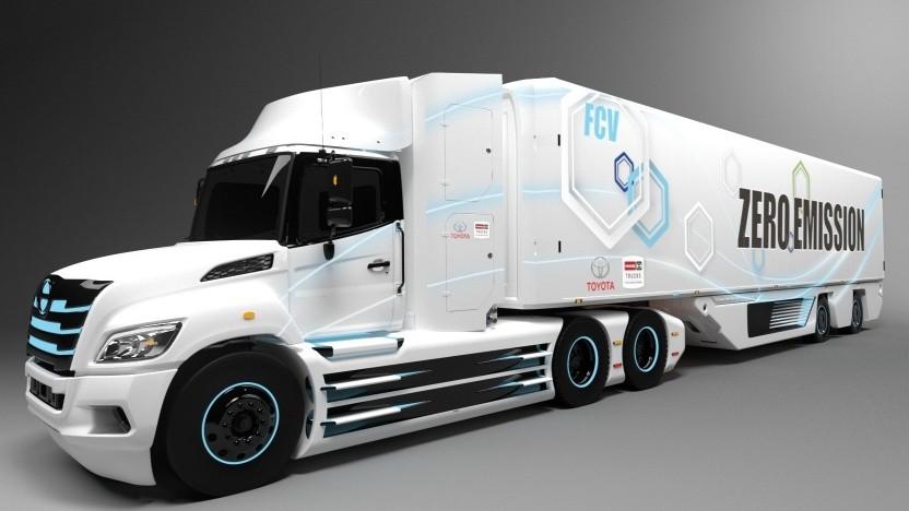 Brennstoffzellen-Sattelschlepper: Chassis von Hino, Antrieb von Toyota