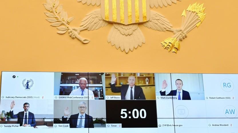 Die Chefs der IT-Konzerne in der virtuellen Videokonferenz des Ausschusses