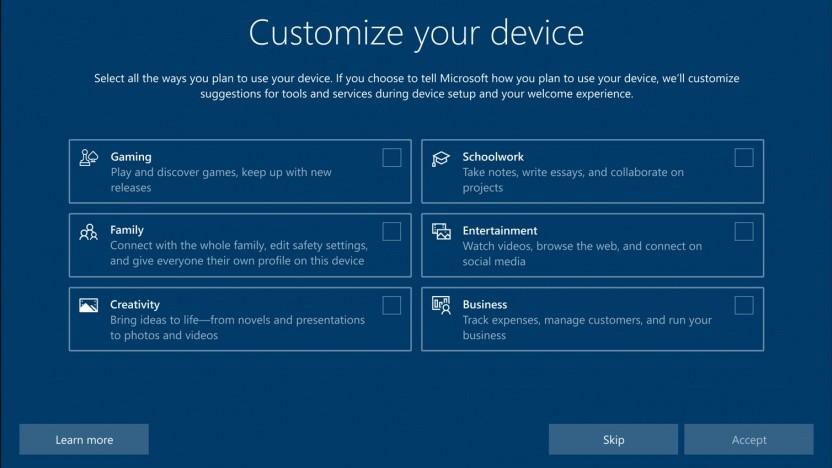 Windows 10 fragt ab, wie das OS genutzt werden soll.