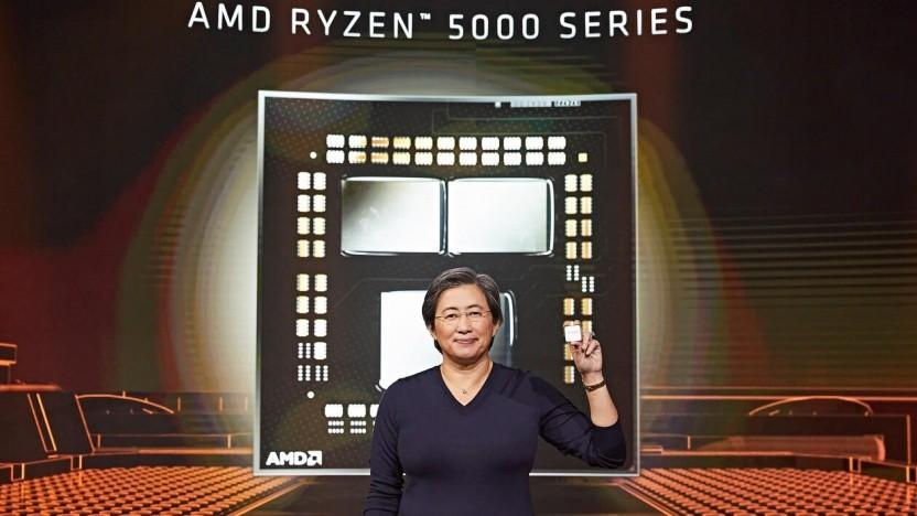AMD-Chefin Lisa Su stellt die Ryzen 5000 vor.