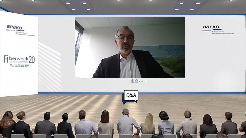 Norbert Westfal, BREKO-Präsident und Sprecher der Geschäftsführung der EWE TEL, auf der virtuellen Messe