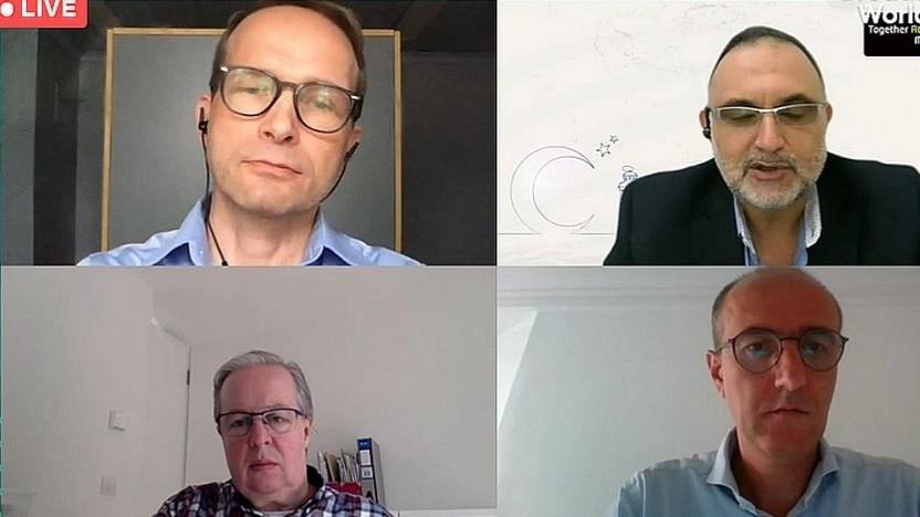 Teilnehmer des BBWF-Panels zu FWA; links oben Kimmo Pentikäinen von Elisa, links unten Mike Stacey von Imagine