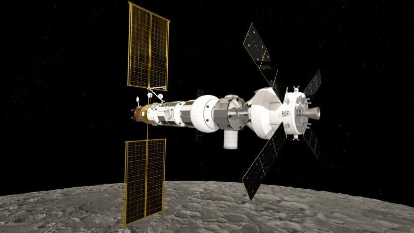 Künstlerische Darstellung der Raumstation Gateway: Ausblick wie auf der ISS