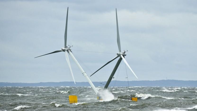 Windkraftanlage Nezzy2 im Sturm auf der Ostsee: gut geeignet für tiefere Gewässer
