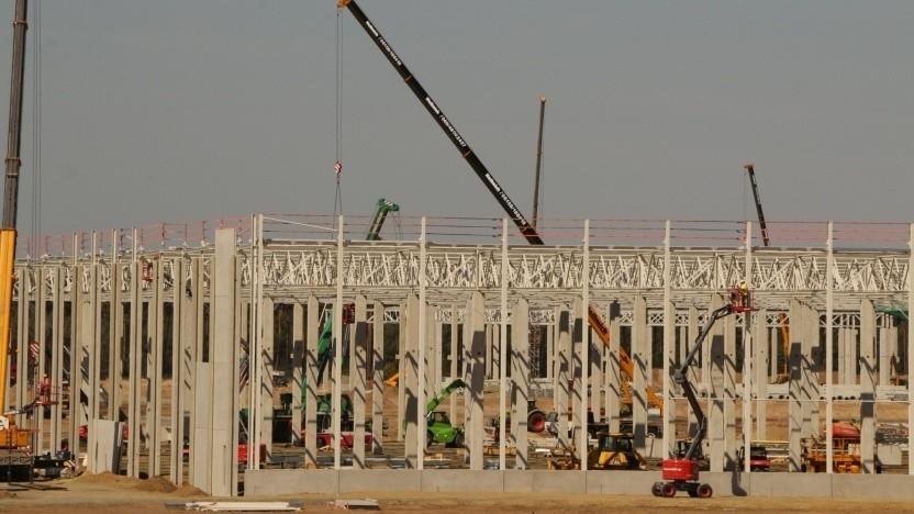 Die Baustelle der Tesla-Gigafactory in Grünheide bei Berlin