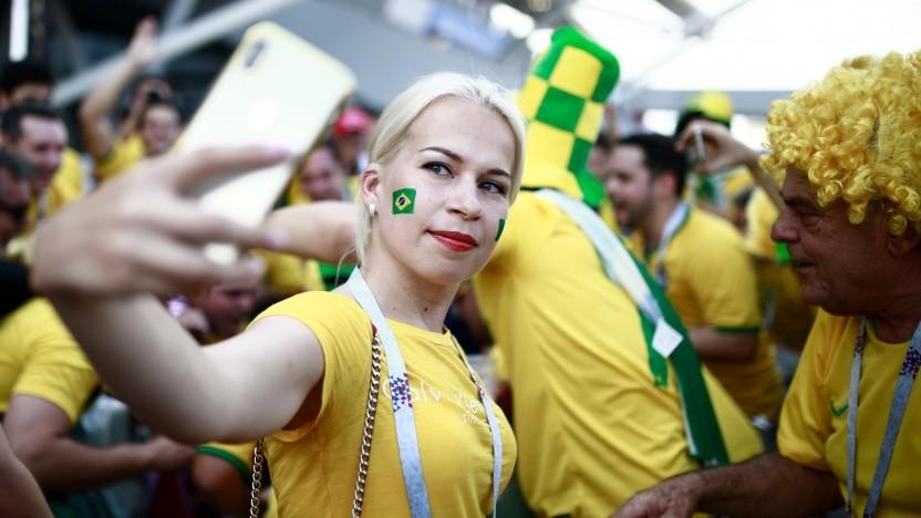Selfie beim Fußball in Brasilien