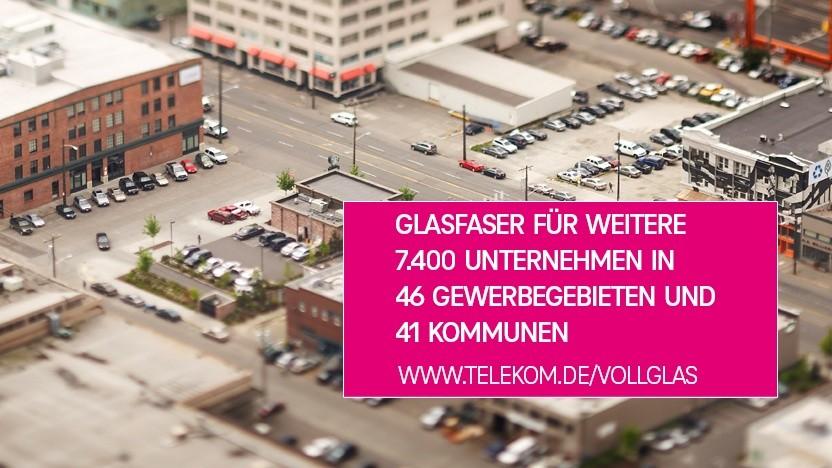 Die Telekom setzt den bundesweiten Glasfaserausbau in Gewerbegebieten fort.
