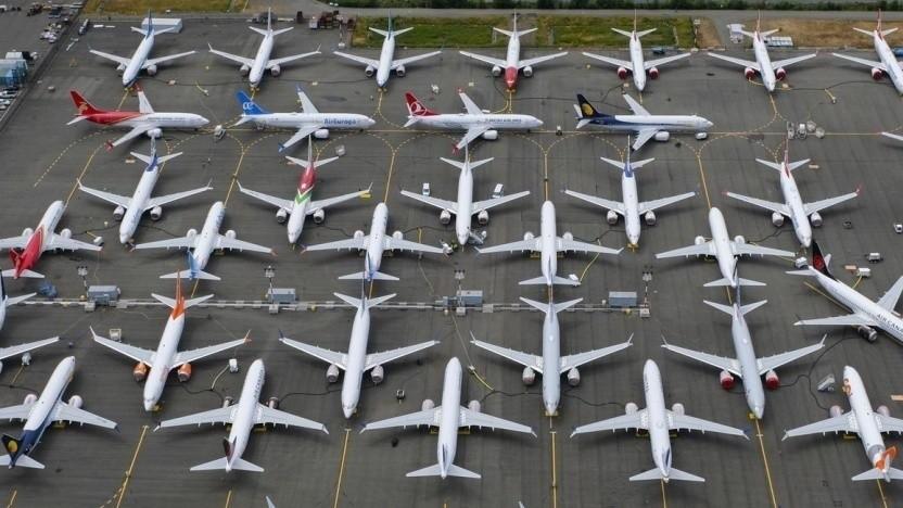 Noch stehen sie am Boden: geparkte Boeing 737 Max (in Seattle im Juni 2019)