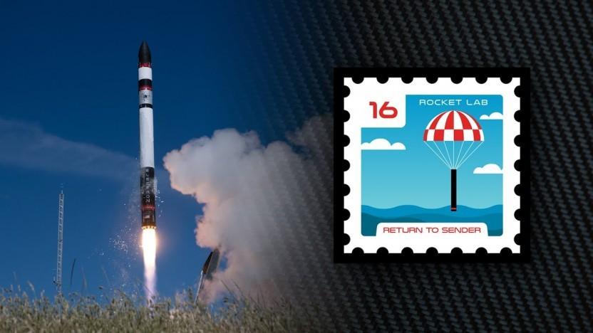 Das Missionslogo der Electron hat diesmal die Form einer Briefmarke.