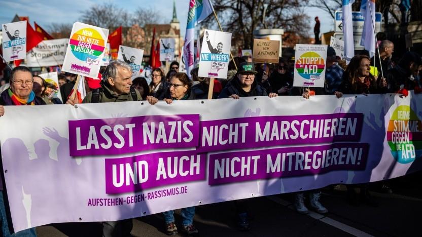 Demonstration gegen die AfD im Februar 2020 in Erfurt