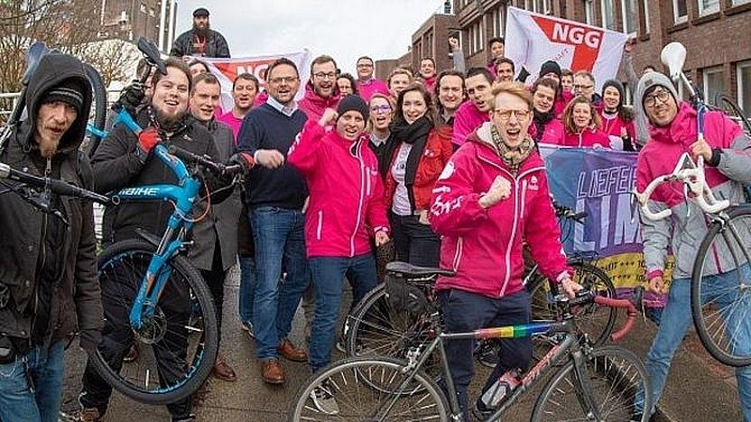 Riders Day Germany am 7. bis 8. Februar 2019 in Hamburg. Fahrerinnen und Fahrer von Foodora und Lieferando.de