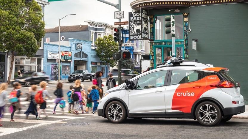 Autonom fahrendes Auto von Cruise in San Francisco: Fünf Unternehmen dürfen Autos im fahrerlosen Betrieb in Kalifornien testen.