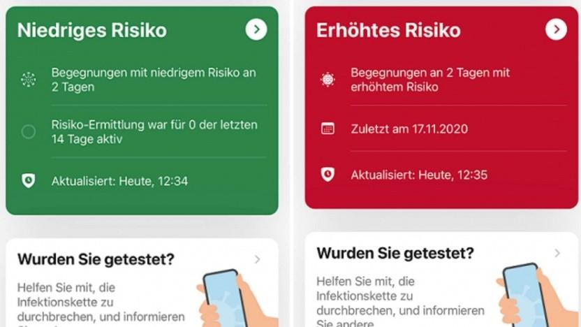 Die neuen Anzeigen der Corona-Warn-App