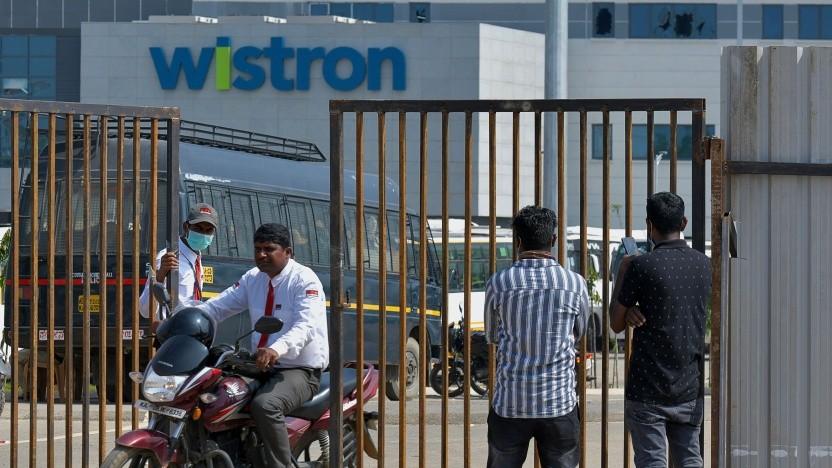 Arbeiter am Wistron-Werk in Narasapura, Südindien