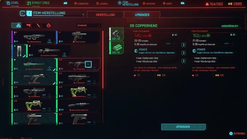 Das Herstellen-Menü in Cyberpunk 2077