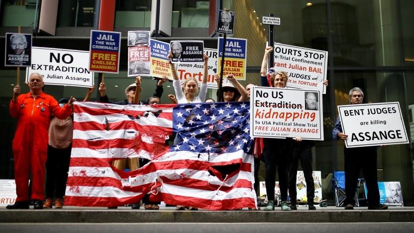 Proteste gegen die Auslieferung von Julian Assange in die USA