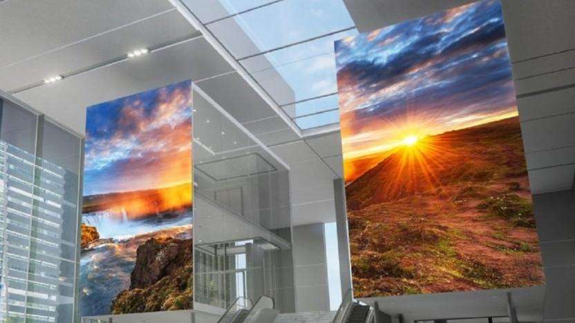 Sonys MicroLED-Kacheln sollen für Bürolobbys geeignet sein.