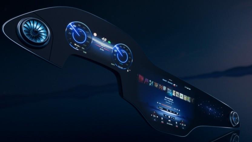 MBUX Hyperscreen: Die Bildschirmfläche ist mit einem durchgehenden Deckglas geschützt.