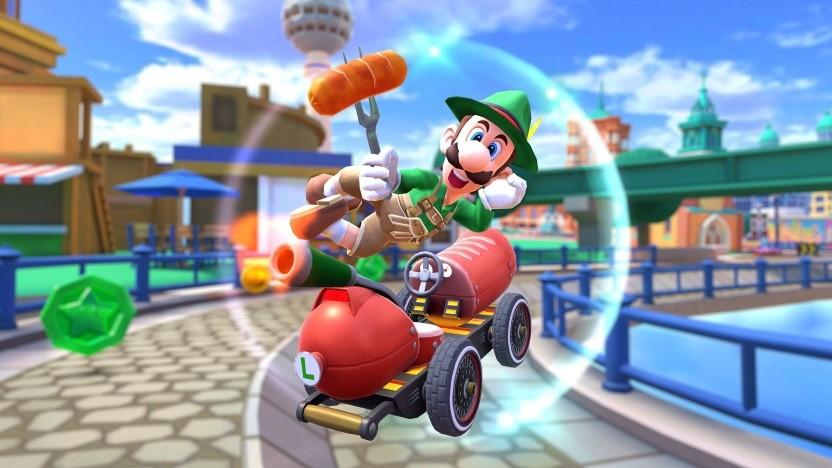 Lederhosen-Luigi in Mario Kart Tour