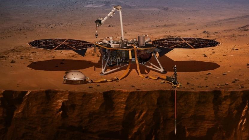 Marslander Insight mit HP3 und Mole (rechts im Vordergrund): Der Mars ein schwierig zu erforschender Nachbar.