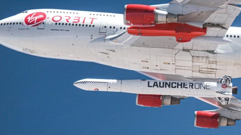 Launcher One wird von einer Boeing 747 gestartet.