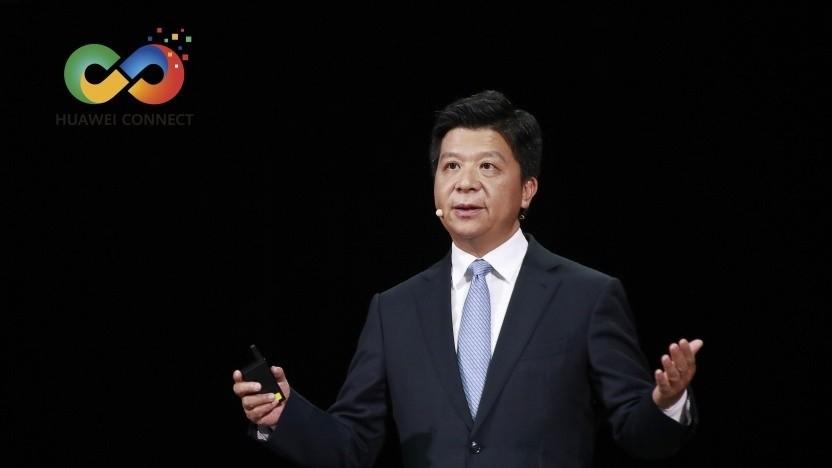 Guo Ping, Rotating Chairman bei Huawei, spricht auf der Connect 2020.