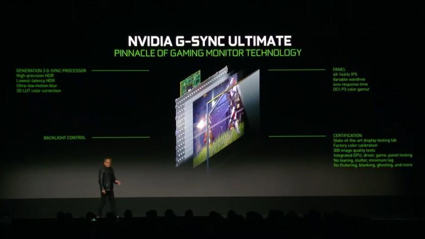 Nvidia-CEO Jensen Huang stellt G-Sync Ultimate vor.