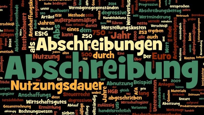 Wordcloud zum Thema Abschreibungen