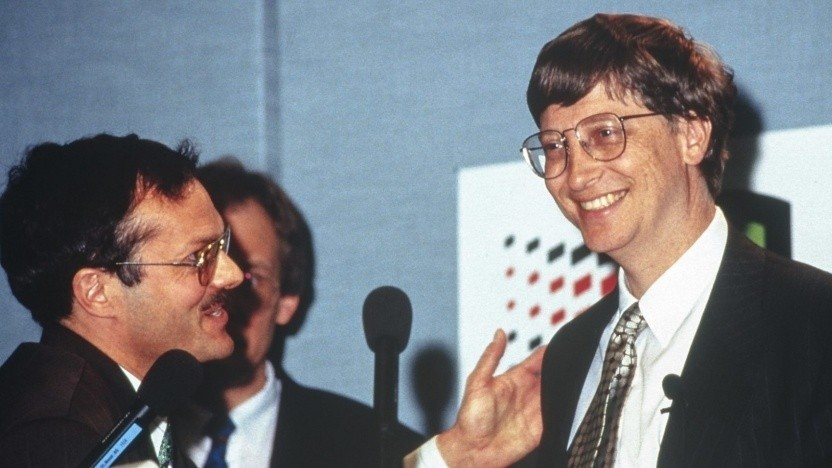 Nerdiger Bill Gates auf der Cebit 1995