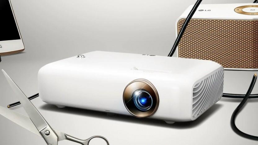 LGs Projektor hat einen Akku integriert.
