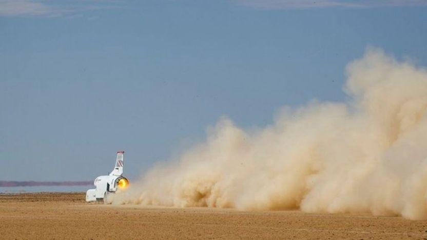 Bloodhound LSR bei einer Testfahrt: Die Rekordfahrt soll 2022 stattfinden.
