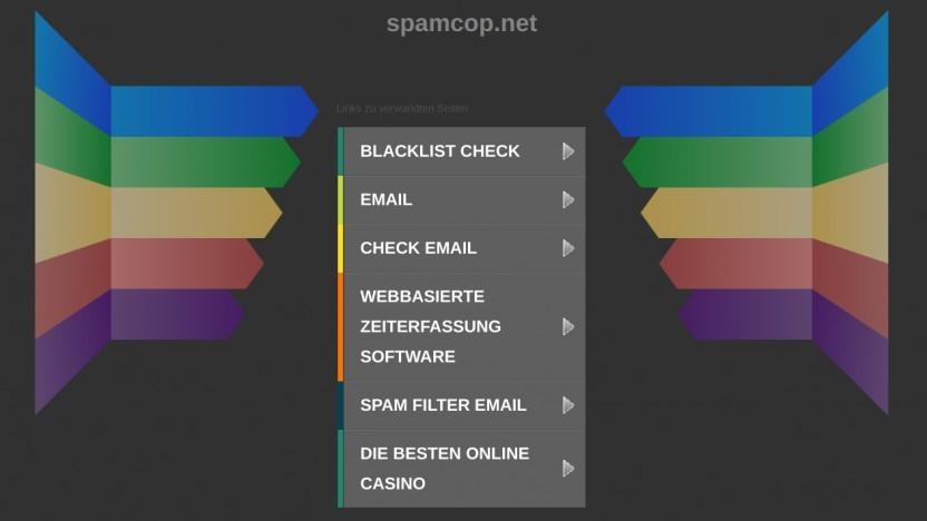 Werbung auf der Spamcop-Webseite, die Domain wurde offenbar nicht verlängert.