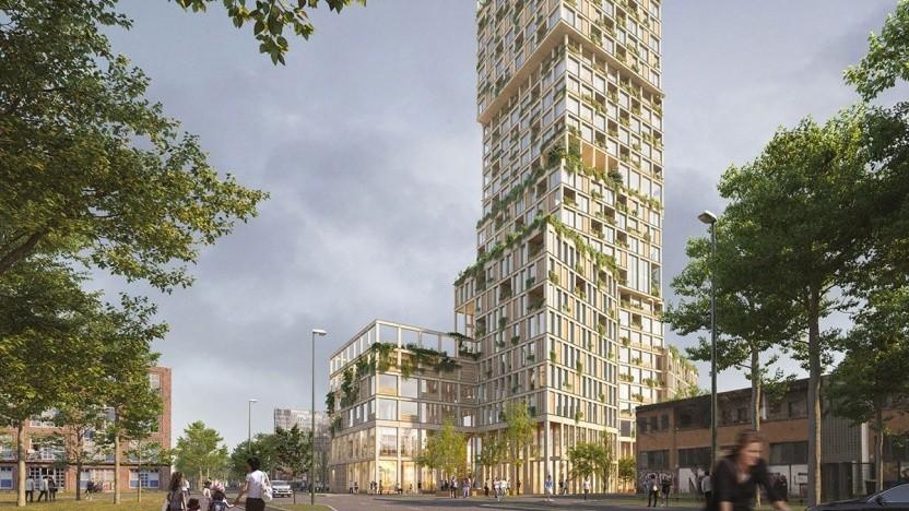 Holzhochhaus Woho: 60 Prozent Wohnfläche