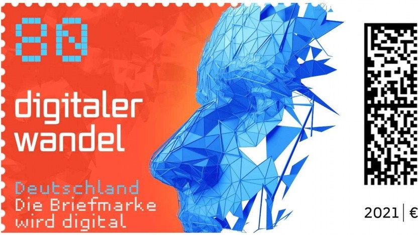 Die erste Marke der neuen Briefmarkengeneration mit Matrixcode