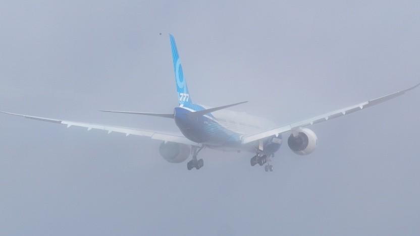Flug einer Boeing 777X im Januar 2020