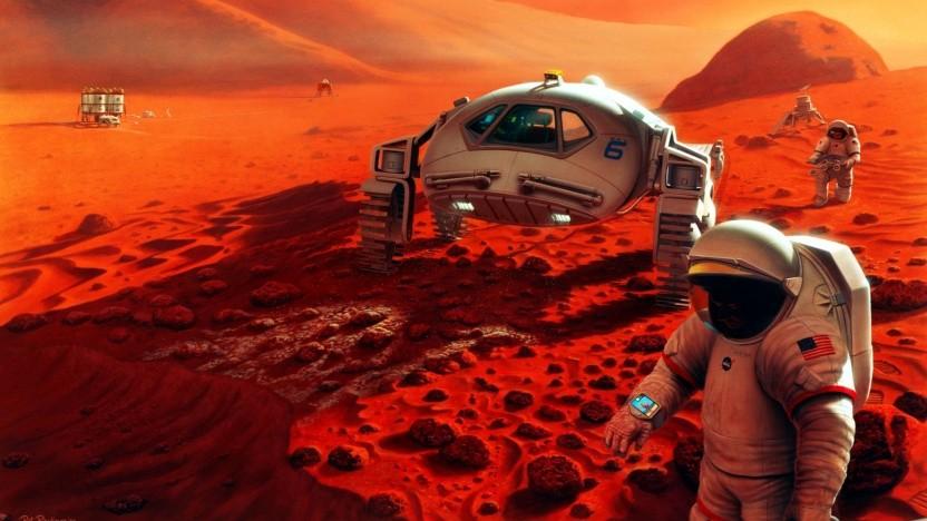 Astronauten auf dem Mars (künstlerische Darstellung aus dem Jahr 1995): Leben auf dem Mars oder Mikroben von der Erde?