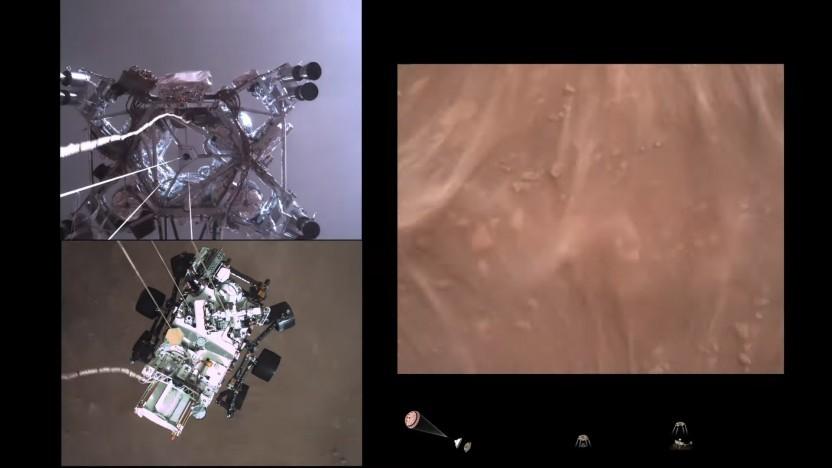 Mehrere Kameras machten Aufnahmen der Landung.