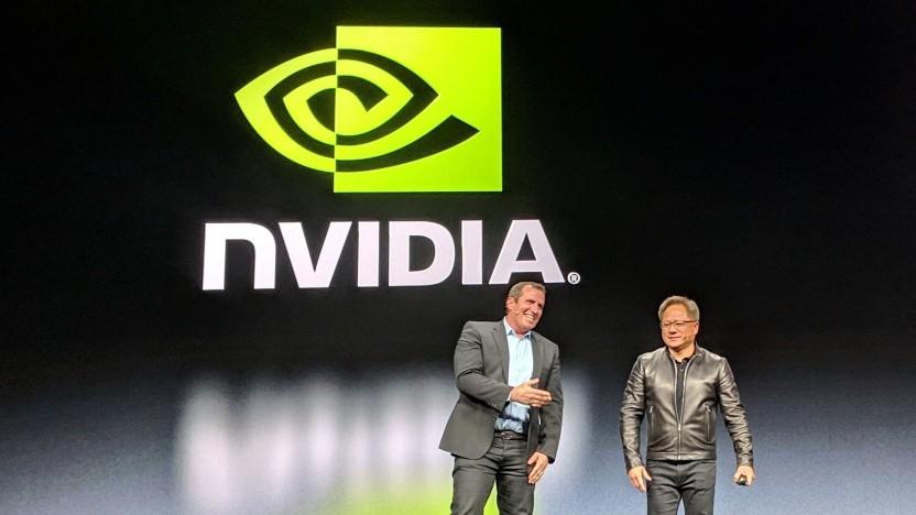 Nvidia-CEO Jensen Huang (r.) und Mellanox-CEO Eyal Waldman auf der GTC 2019