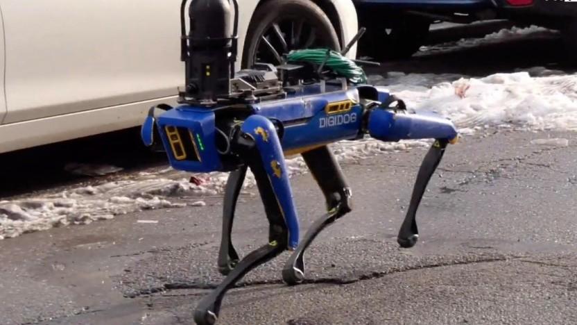 Der vierbeinige Roboter ist mit einer Kamera und Sendetechnik ausgerüstet.