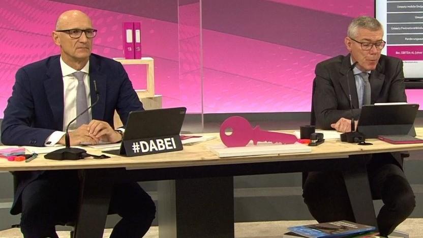 Der Vorstandsvorsitzende Timotheus Höttges (links) und Finanzvorstand Christian P. Illek
