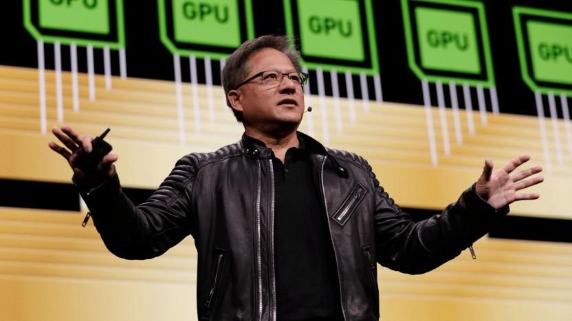 Nvidia-CEO Jensen Huang bei seiner Keynote auf der GTC 2018.