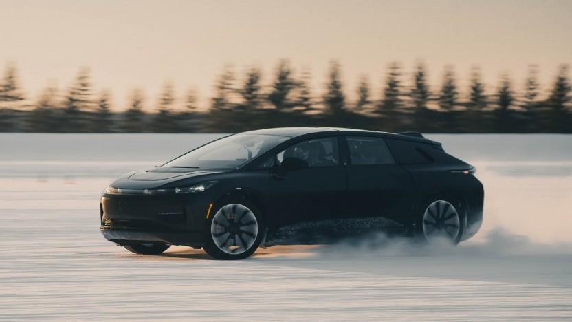 Elektroauto Faraday Future FF 91 beim  Wintertest