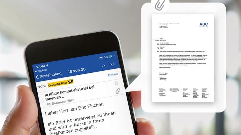 Der Inhalt eines Briefes wird per E-Mail angekündigt.
