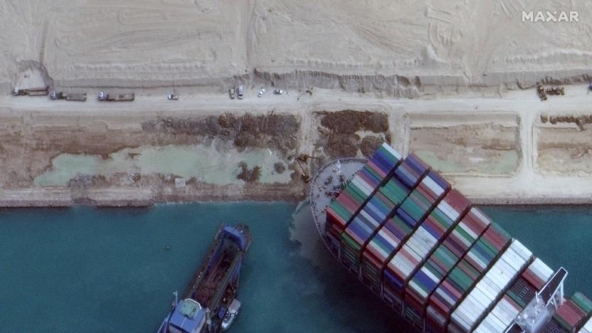 Die Ever Given steckte im Suezkanal fest.