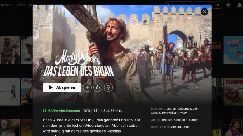 Monty Pythons Das Leben des Brian darf am Karfreitag nicht im Kino laufen, aber auf Netflix.
