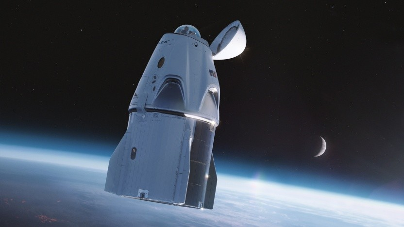 Künstlerische Darstellung des Crew Dragon mit Glaskuppel: Das Aussichtsfenster ersetzt den Dockingadapter.