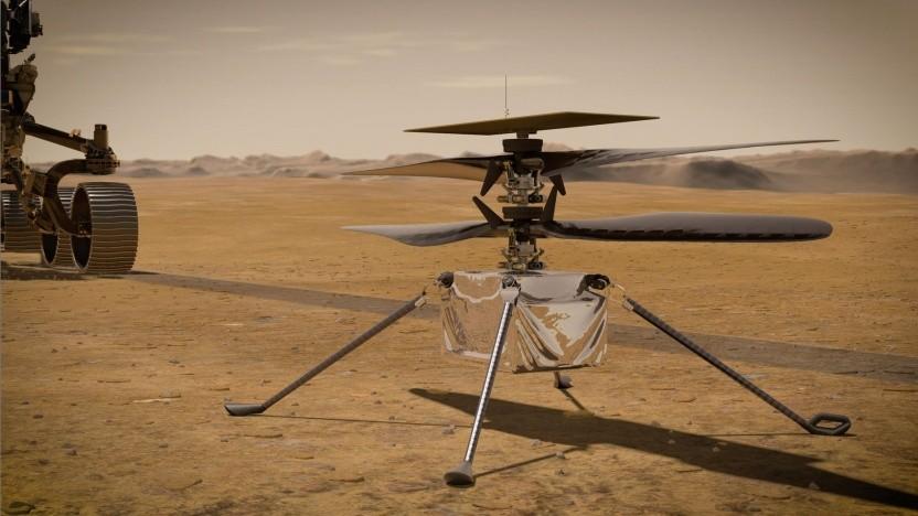 Künstlerische Darstellung von Ingenuity und Perseverance auf dem Mars: 10 Sekunden schweben in drei Metern Höhe