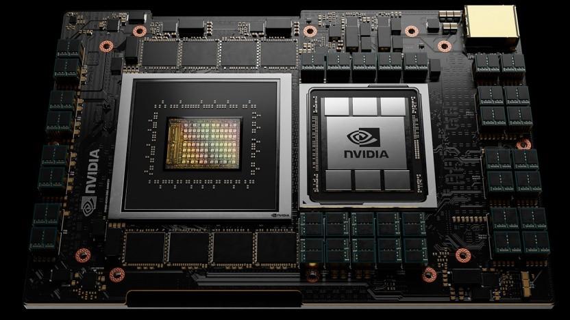 Links das Rendering einer Grace-CPU, rechts eine GPU mit HBM2-Speicher.